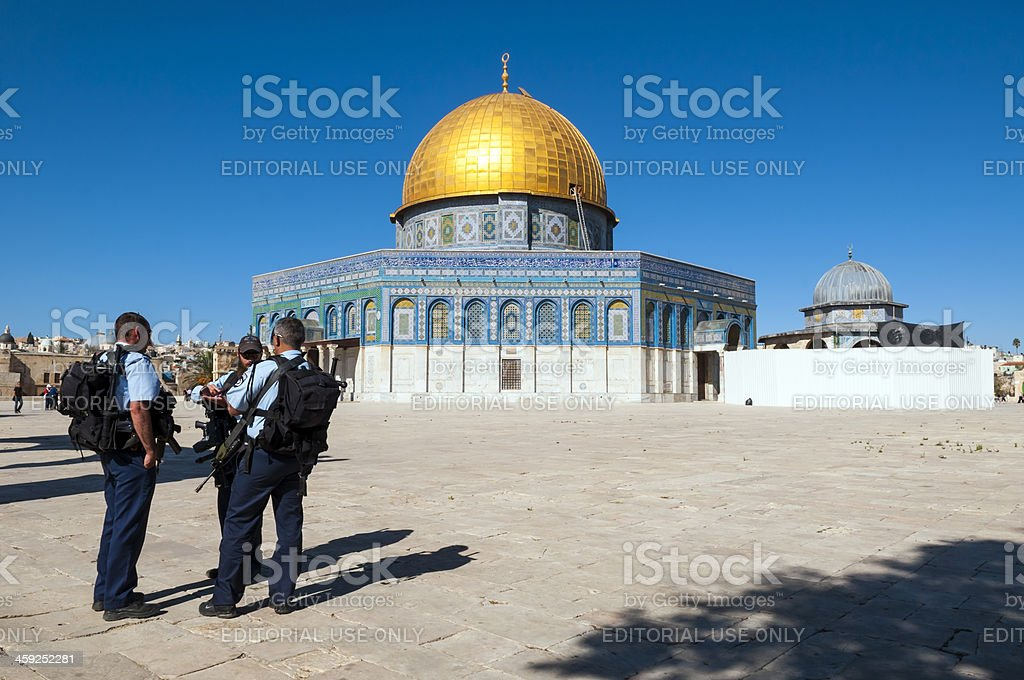 Israeli police outside Dome of the Rock royalty-free stock photo