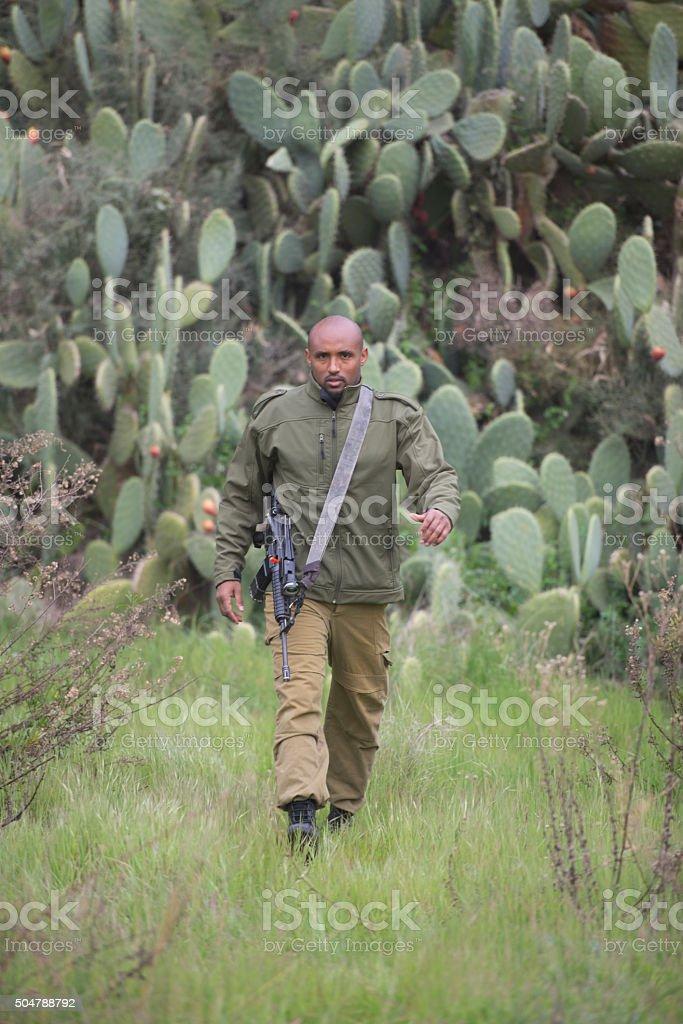 Israeli reserve soldier. stock photo