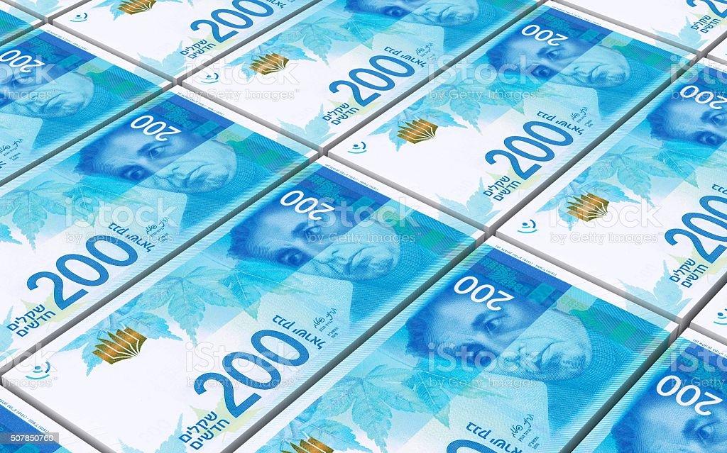 Israeli Shekel bills stacks background. stock photo