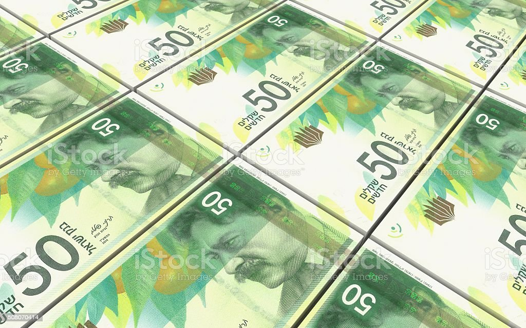 Israeli Shekel bills stacks background. stock photo