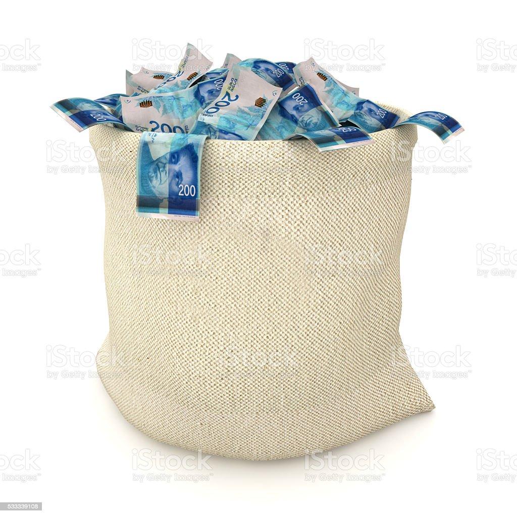 Israeli shekel money bag stock photo