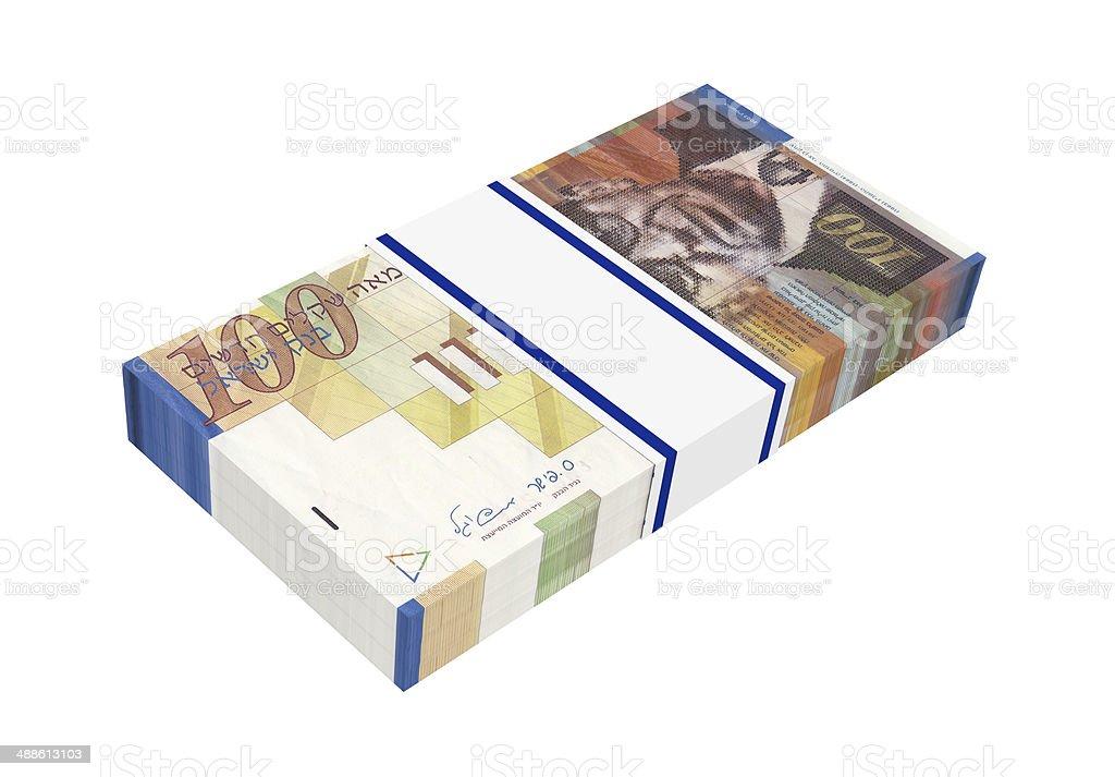 Israeli Shekel money isolated on white background. stock photo