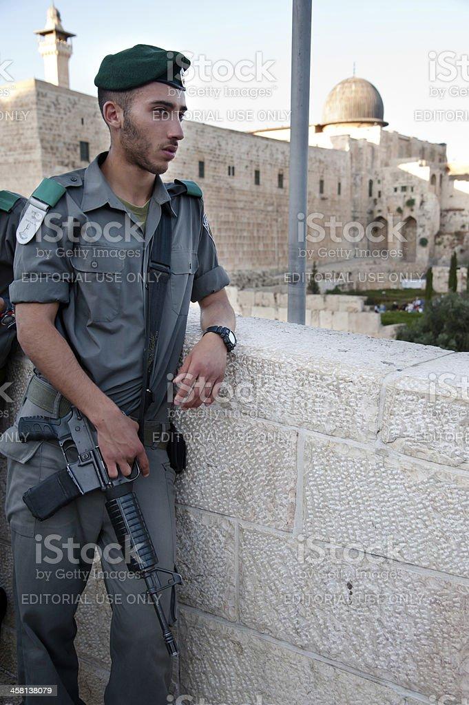 Israeli Soldier and Al-Aqsa Mosque stock photo