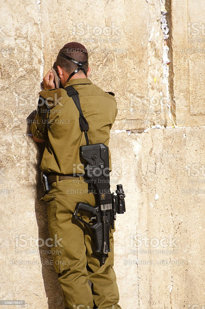 Israeli Soldier at Western Wall royalty-free stock photo