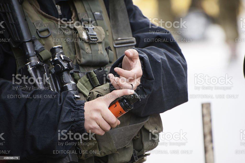 Israeli soldier with flashbang stock photo