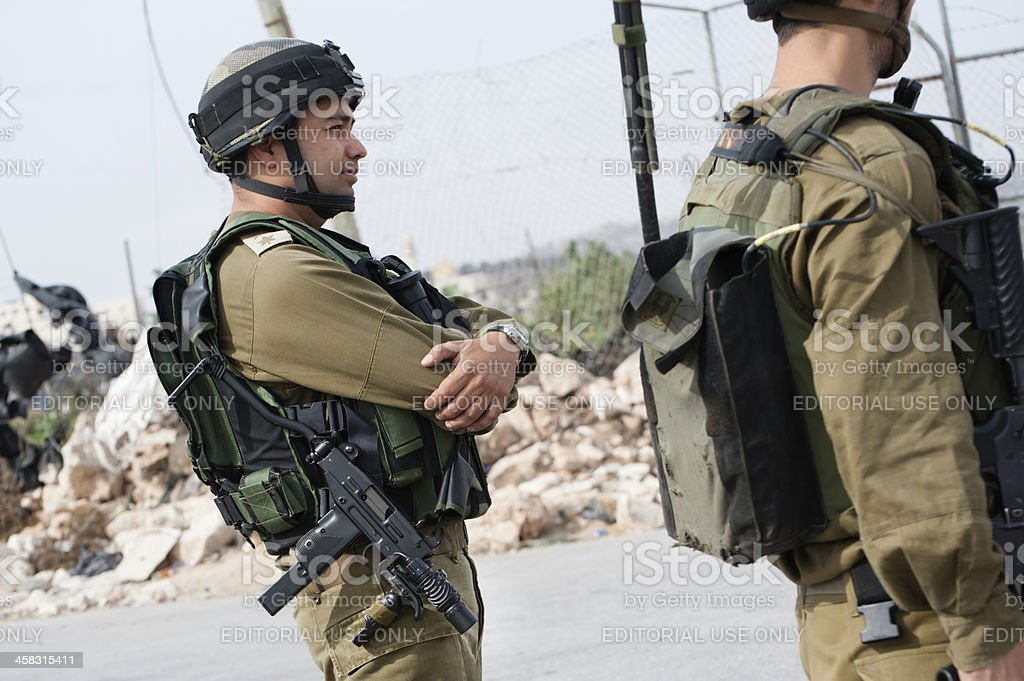 Israeli soldier with Uzi stock photo