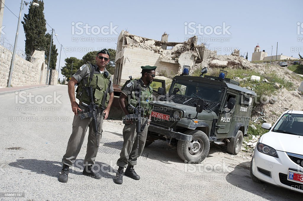 Israeli Soldiers and House Demolition stock photo