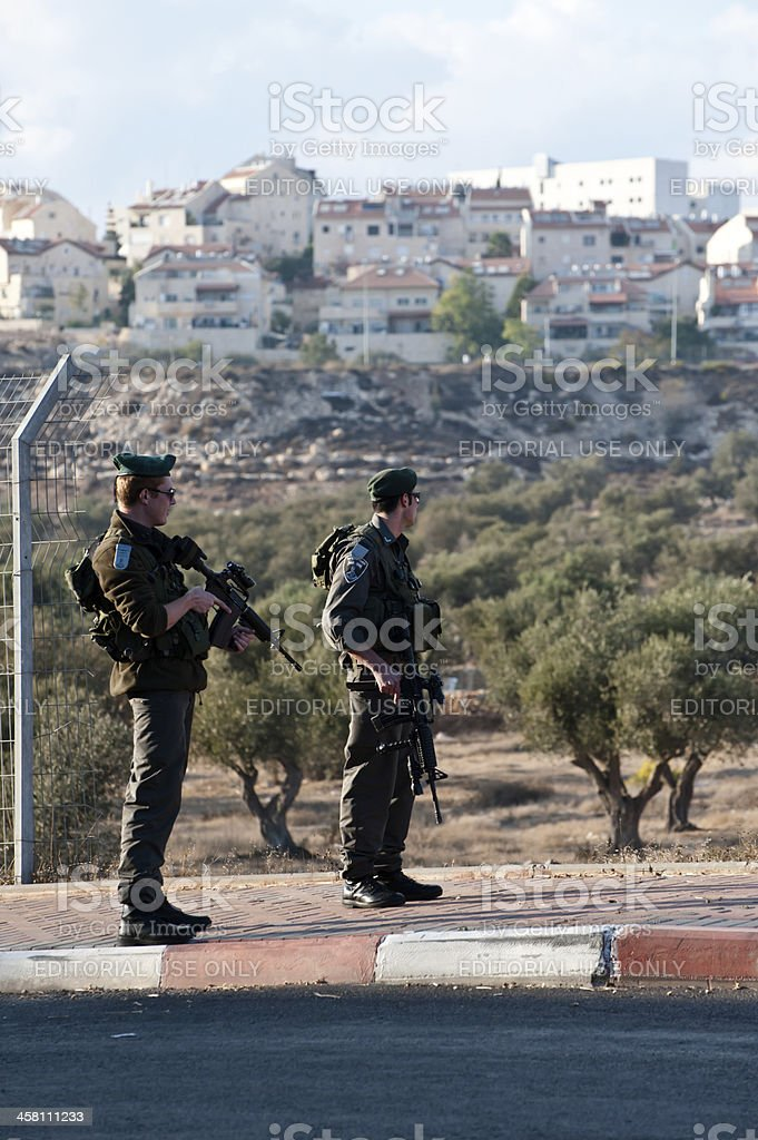 Israeli Soldiers and Settlements stock photo