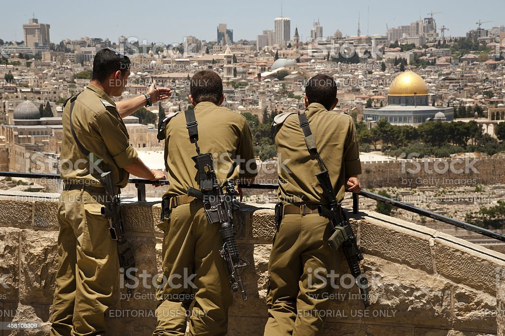 Israeli soldiers in Jerusalem stock photo