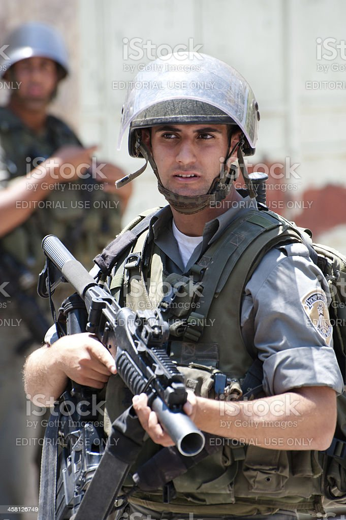 Israeli Soldiers in the West Bank stock photo