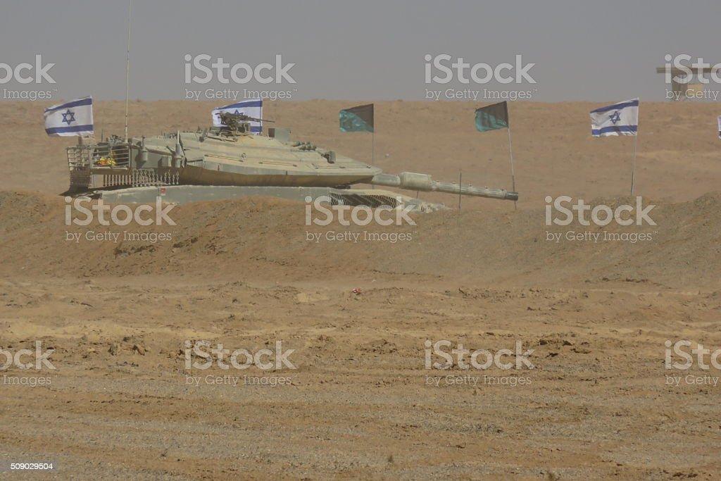 Israeli tank in the desert stock photo