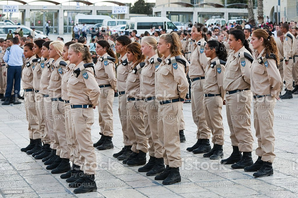 Israeli women in military stock photo