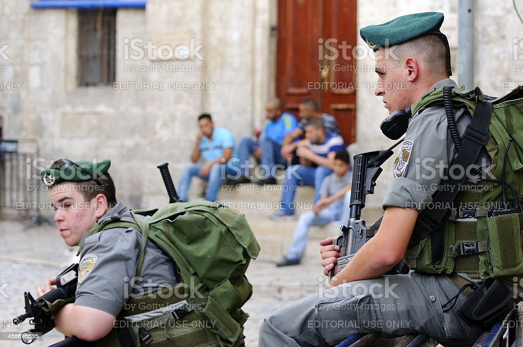 Israelis and Palestinians stock photo