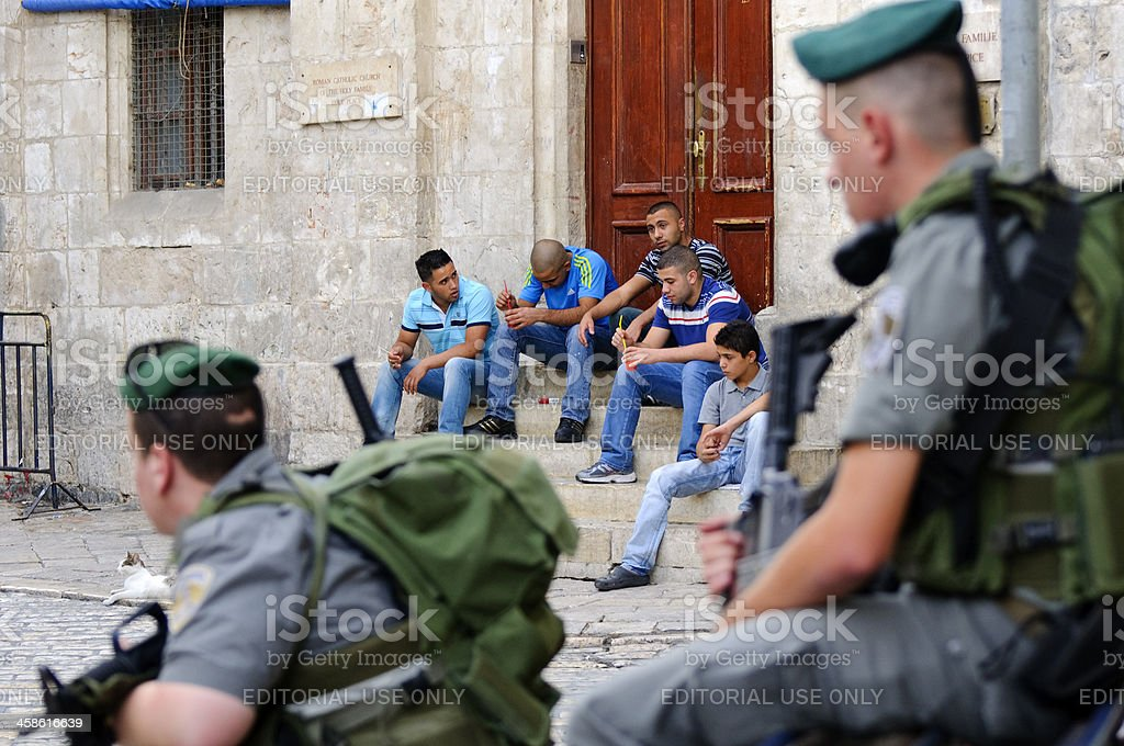 Israelis and Palestinians in Jerusalem's Muslim Quarter royalty-free stock photo