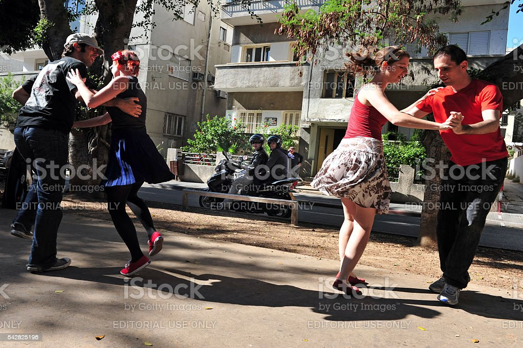 Israelis dance on Rothschild Blvd in Tel Aviv, Israel stock photo