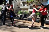 Israelis dance on Rothschild Blvd in Tel Aviv, Israel