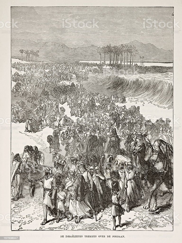 Israelites crossing the Jordan river stock photo