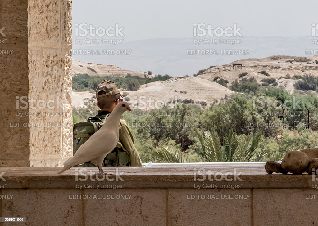 Israel's borders with Jordan at the site of Jesus' baptism stock photo