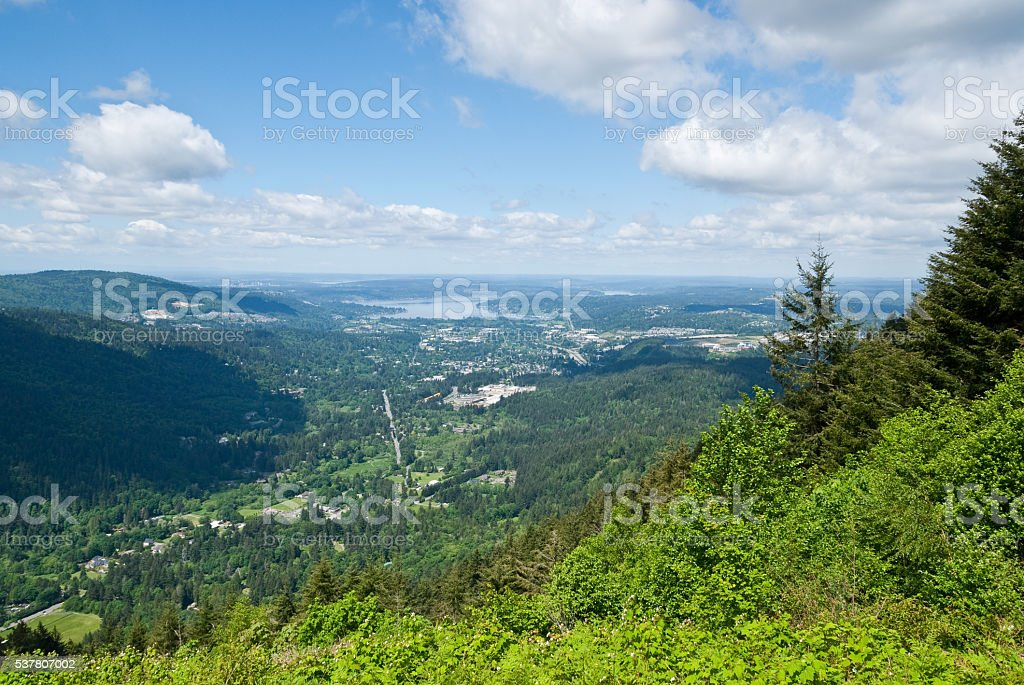 Issaquah and Lake Sammamish from Tiger Mountain stock photo