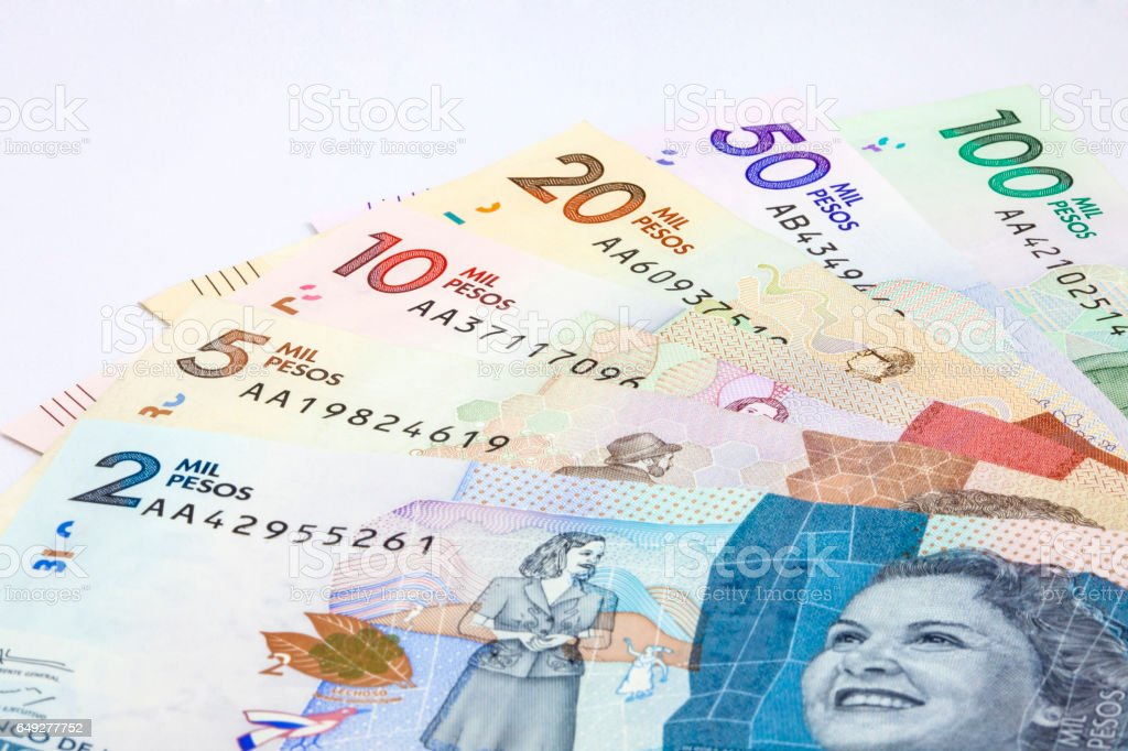 2016 Issued Colombian Bills stock photo