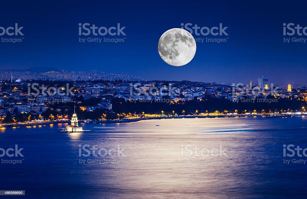 Istanbul at Night with Moon stock photo