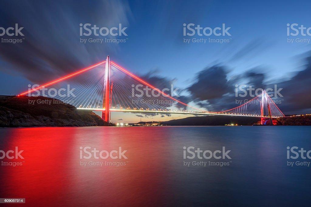 Istanbul bosphorus 3th bridge, named Yavuz Sultan Selim stock photo