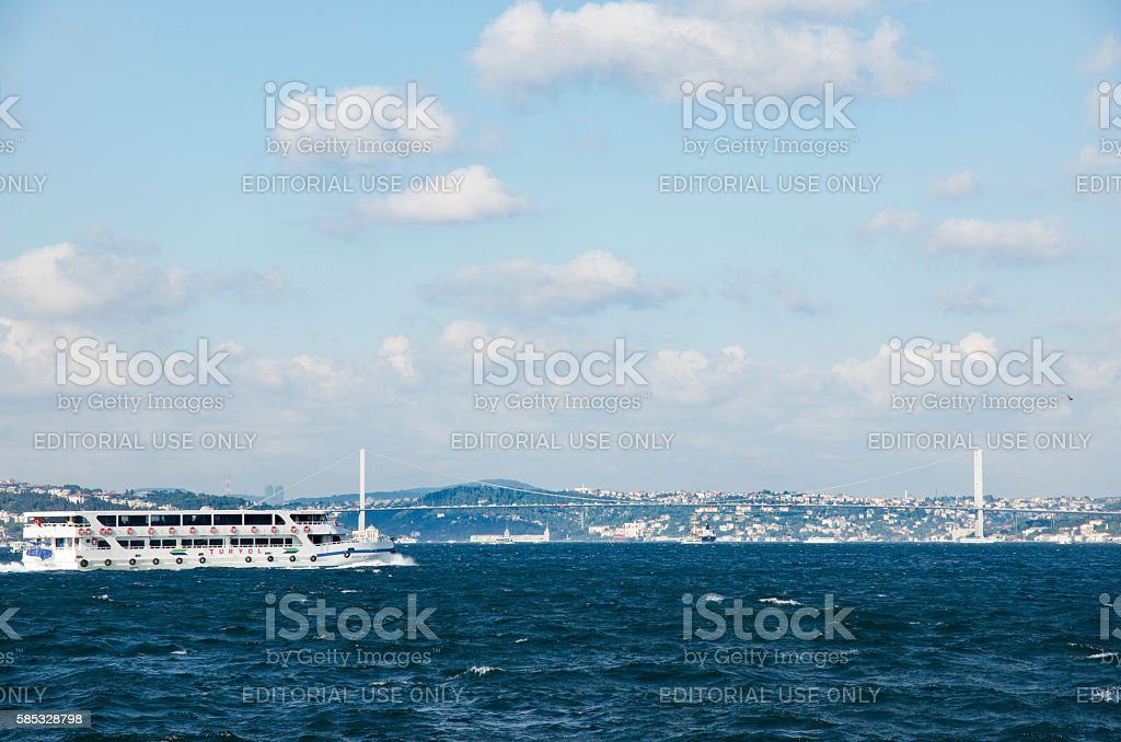 Istanbul Bosphorus Bridge name, '15 July Martyrs Bridge' will be stock photo