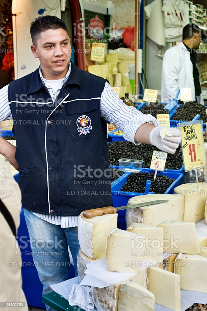 Istanbul Cheese Sellers stock photo