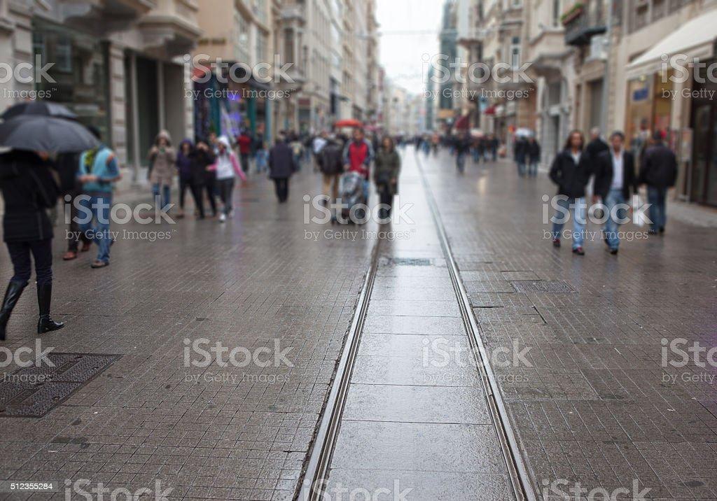istanbul City tram rail stock photo