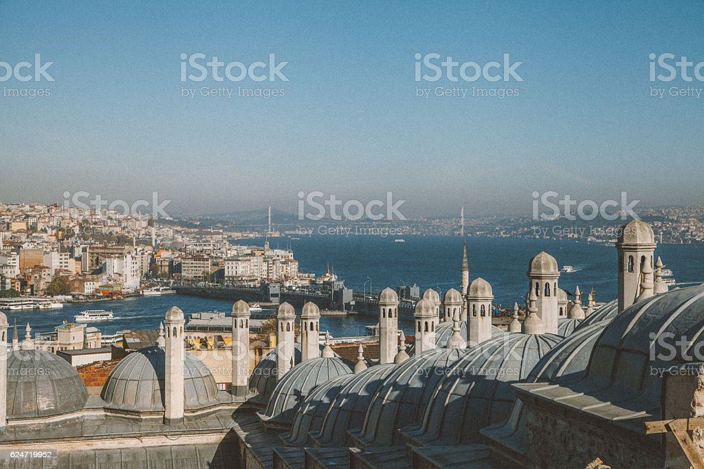 Istanbul city view from Suleymaniye Mosque in Istanbul, Turkey stock photo
