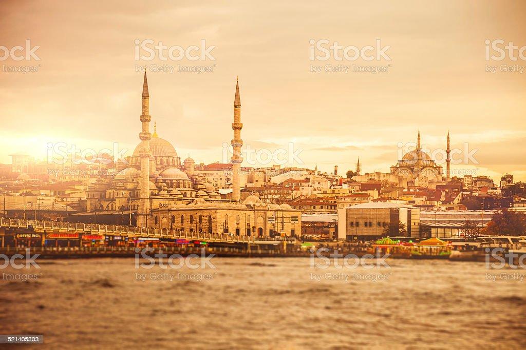 Istanbul cityscape at dusk stock photo