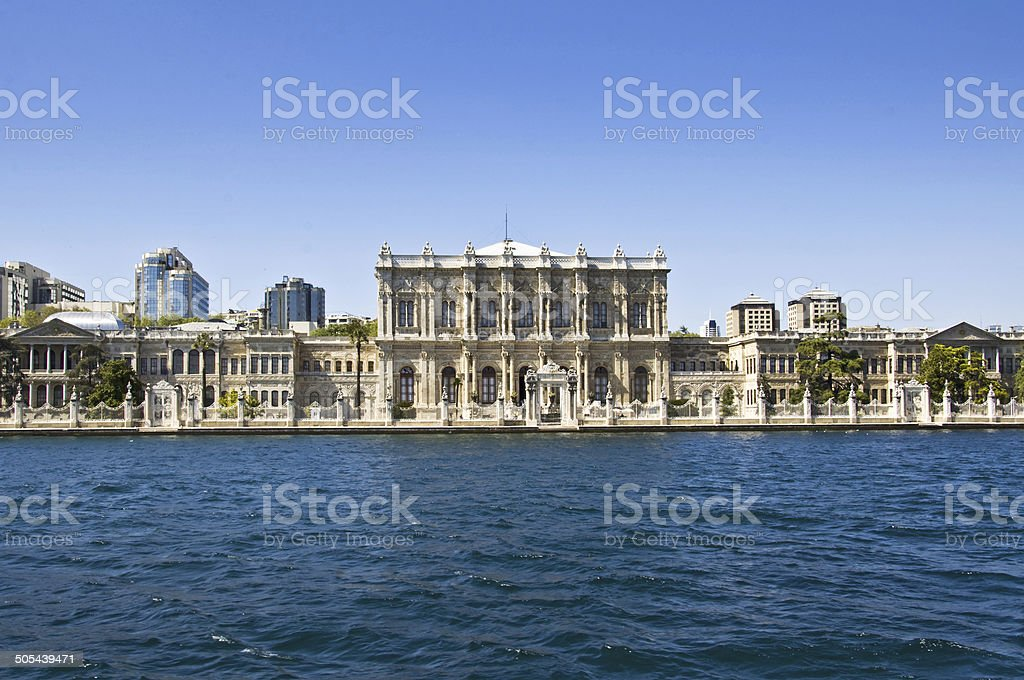 Istanbul, Dolmabahce palace near the Bosphorus, Turkey stock photo