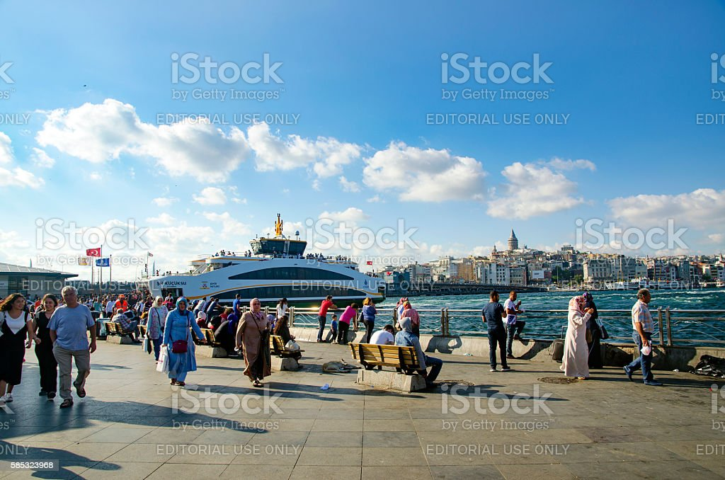 Istanbul Eminonu pier and new types of boats stock photo