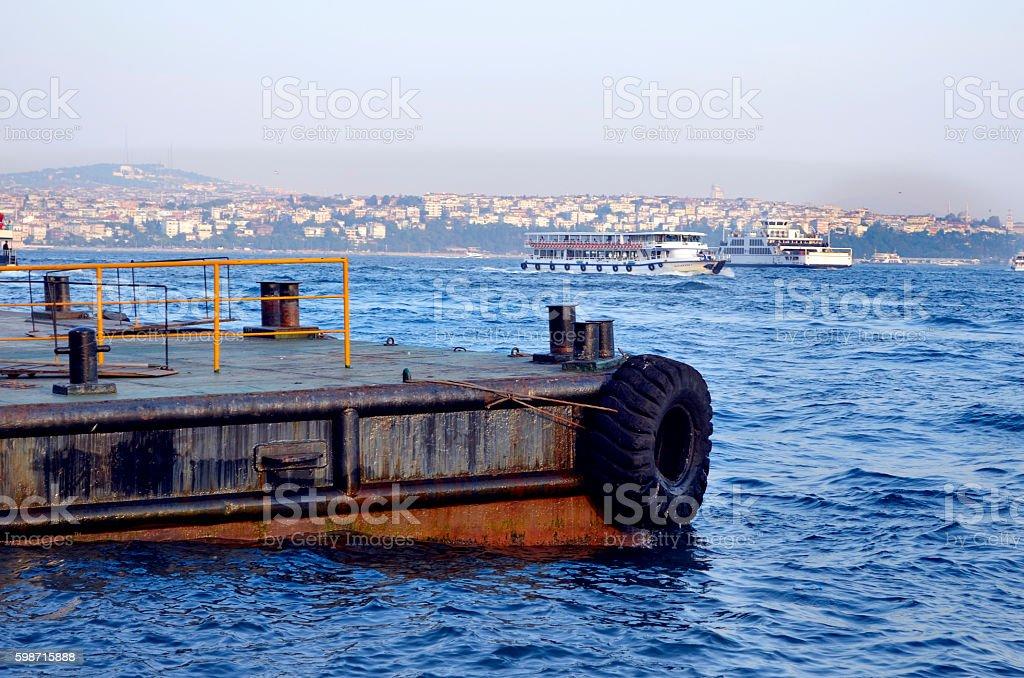 Istanbul, ferry in Karakoy pier stock photo