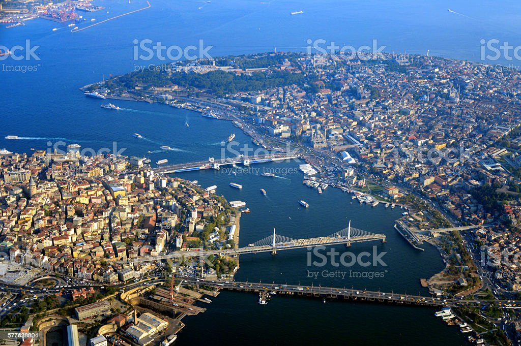 Istanbul from the air - cityscape - Turkey stock photo