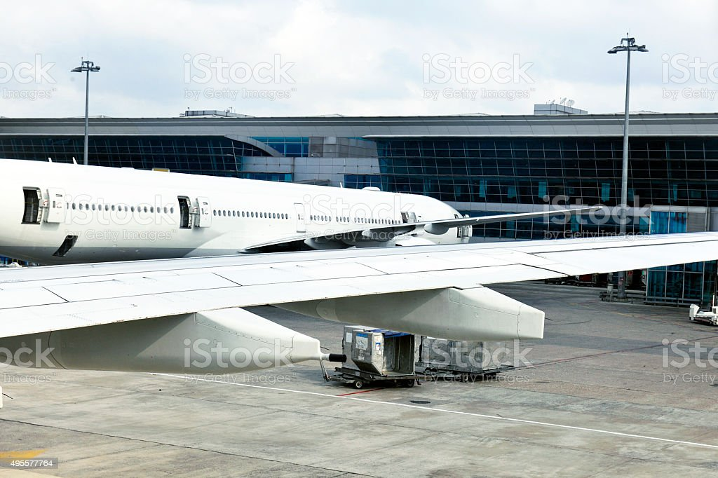 Istanbul International Airport,airplane, wing, buildings, carriages,Turkey stock photo