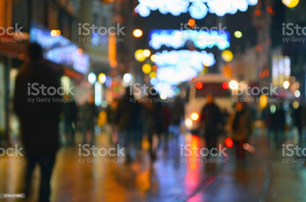 Istanbul, Istiklal Street. Bokeh Fuzzy View stock photo