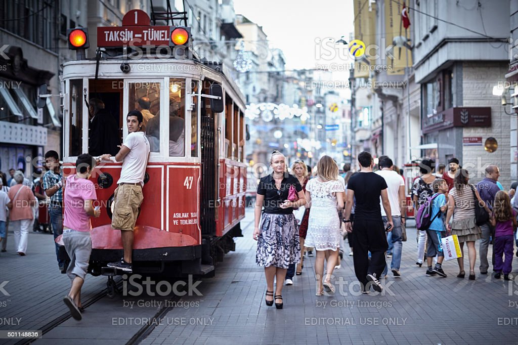 istanbul, istiklal street chestnut stock photo