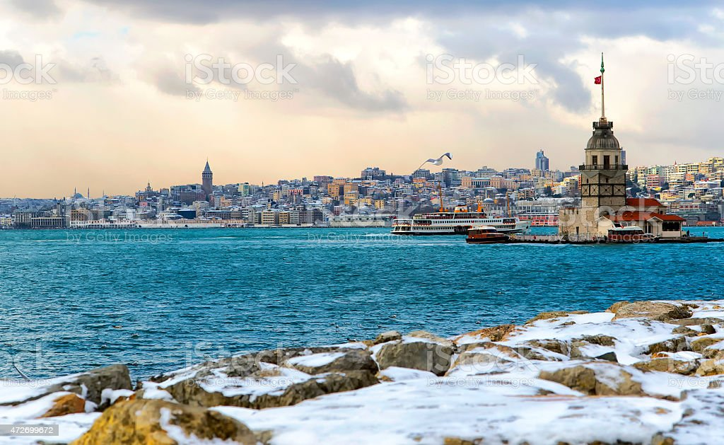 Istanbul Maiden Tower stock photo