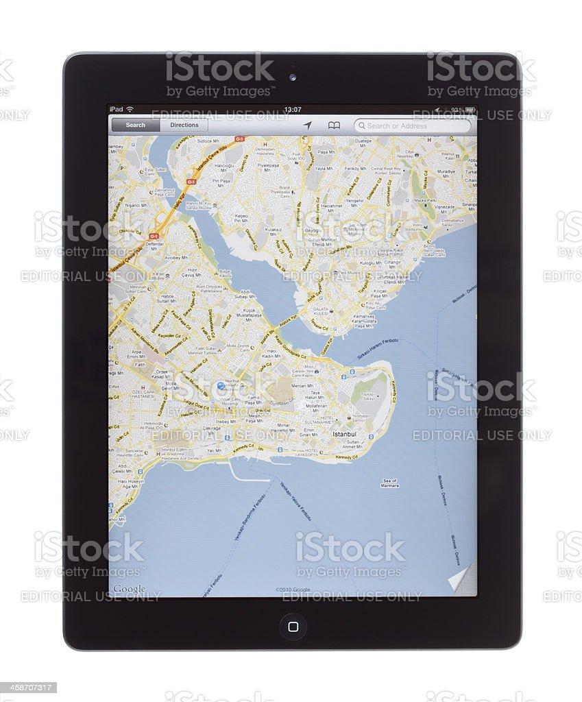 istanbul Map on ipad 2 stock photo