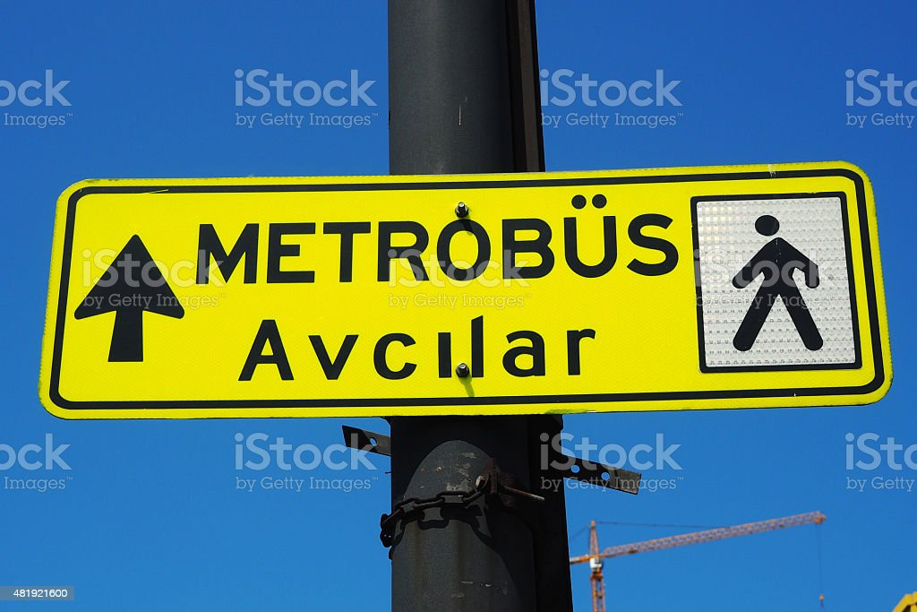 istanbul   metrobus sign stock photo