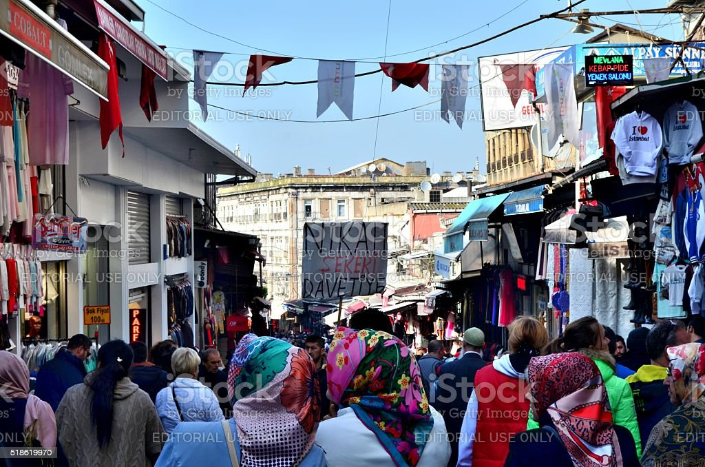 Istanbul: Muslim women with colorful hedscarfs in Bazar stock photo
