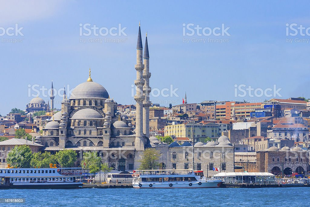 Istanbul New Mosque and Ships royalty-free stock photo