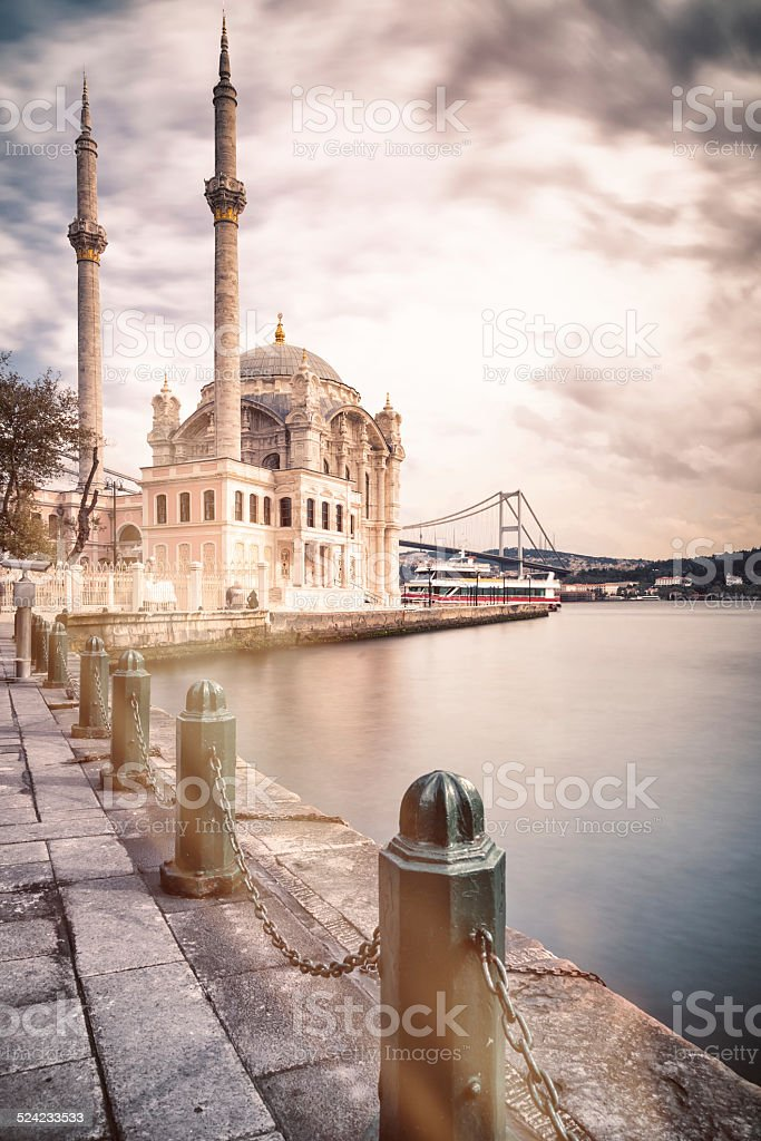 Istanbul - Ortakoy Mosque with Bosphorus bridge in background stock photo