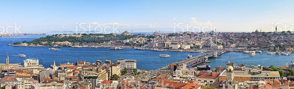 Istanbul Panoramic View from Galata tower to Golden Horn, Turkey royalty-free stock photo