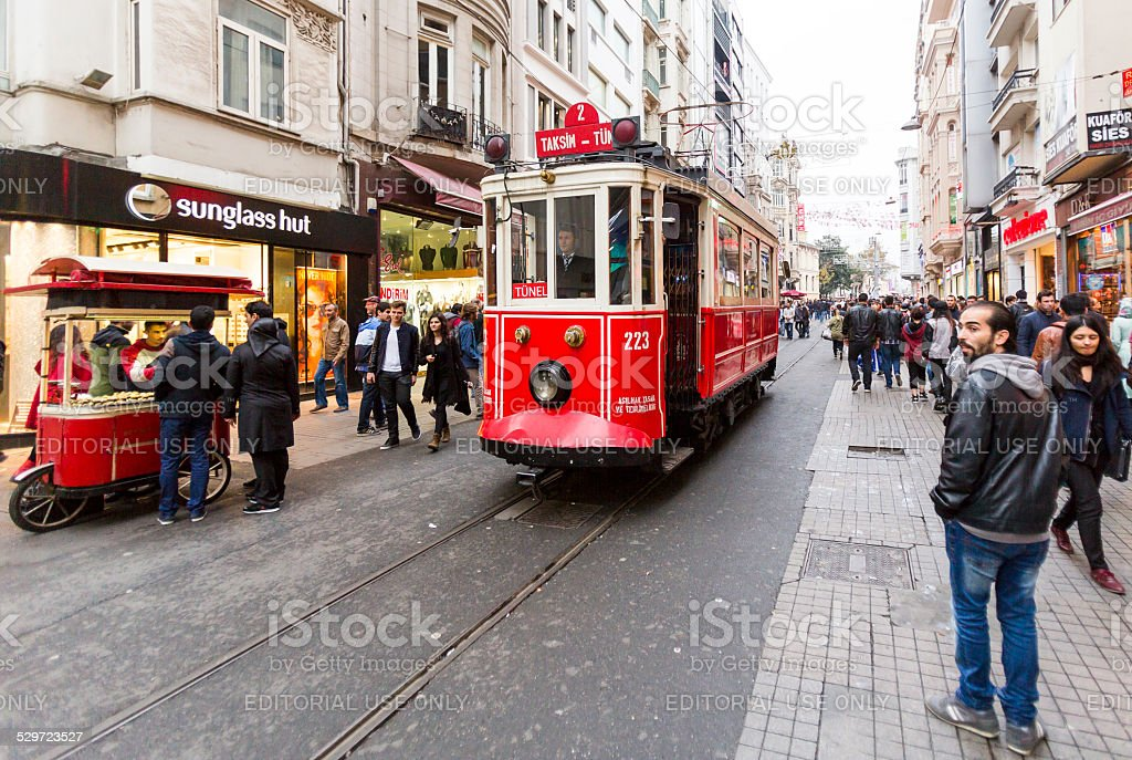 Istanbul red tram stock photo