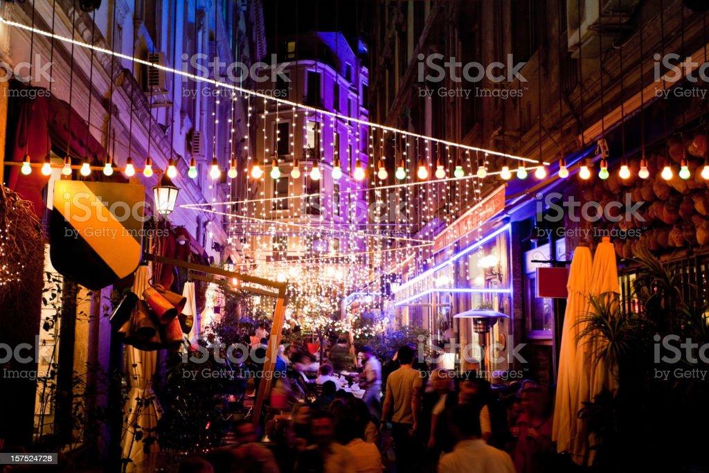 Istanbul Restaurants at Night royalty-free stock photo