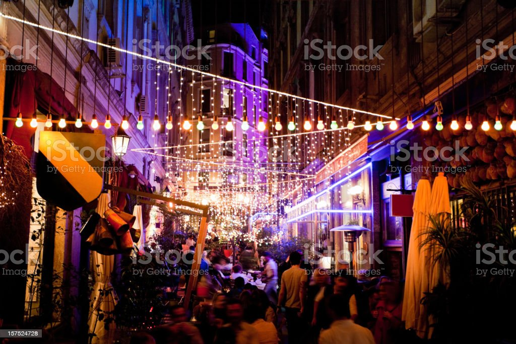 Istanbul Restaurants at Night stock photo