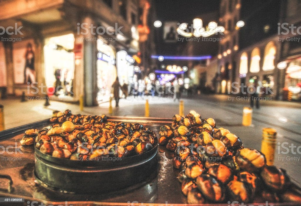 Istanbul roasted chestnuts stock photo