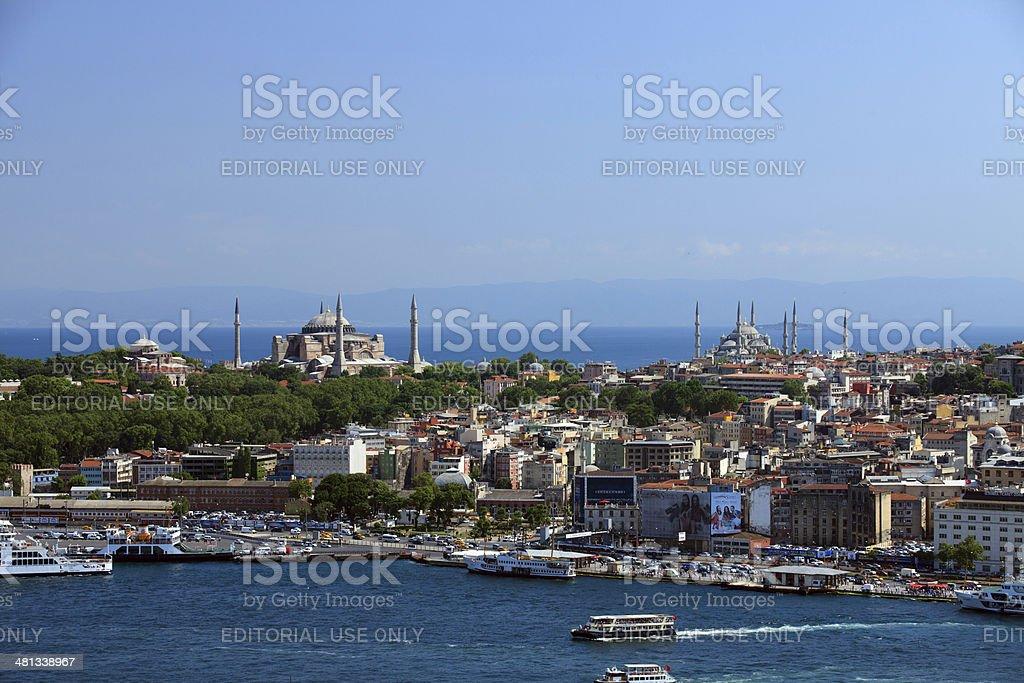 Istanbul, ships at Eminönü ferry terminal royalty-free stock photo